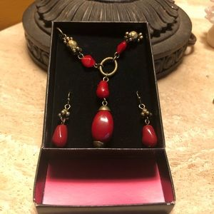 AVON red stone Y-necklace & earrings, NIB